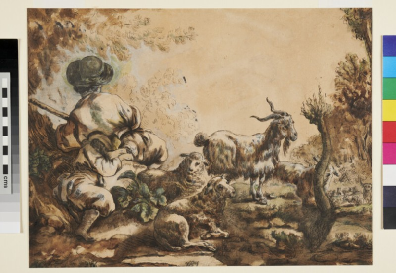 Two Shepherds with Sheep and a Goat