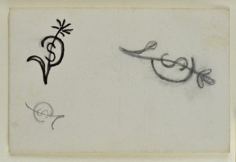 Sketches of monograms for Sophie Dalrymple (WA1967.42.14.11)