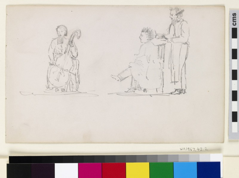 Recto: Caricature Studies of a Cellist and a Man having his Hair cut  <br />Verso: Study of a Seated Baby