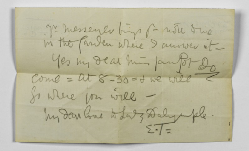 Note from Ellen Terry to Lizzie Potton: 'Mr Messenger brings your note to me in the Garden where I answer it' (WA1967.42.20)