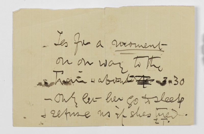 Note from Ellen Terry to Lizzie Potton
