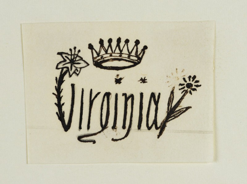 Signature Design incorporating a Crown, a Lily, Stars and a Daisy, for Virginia Dalrymple (WA1967.42.23)
