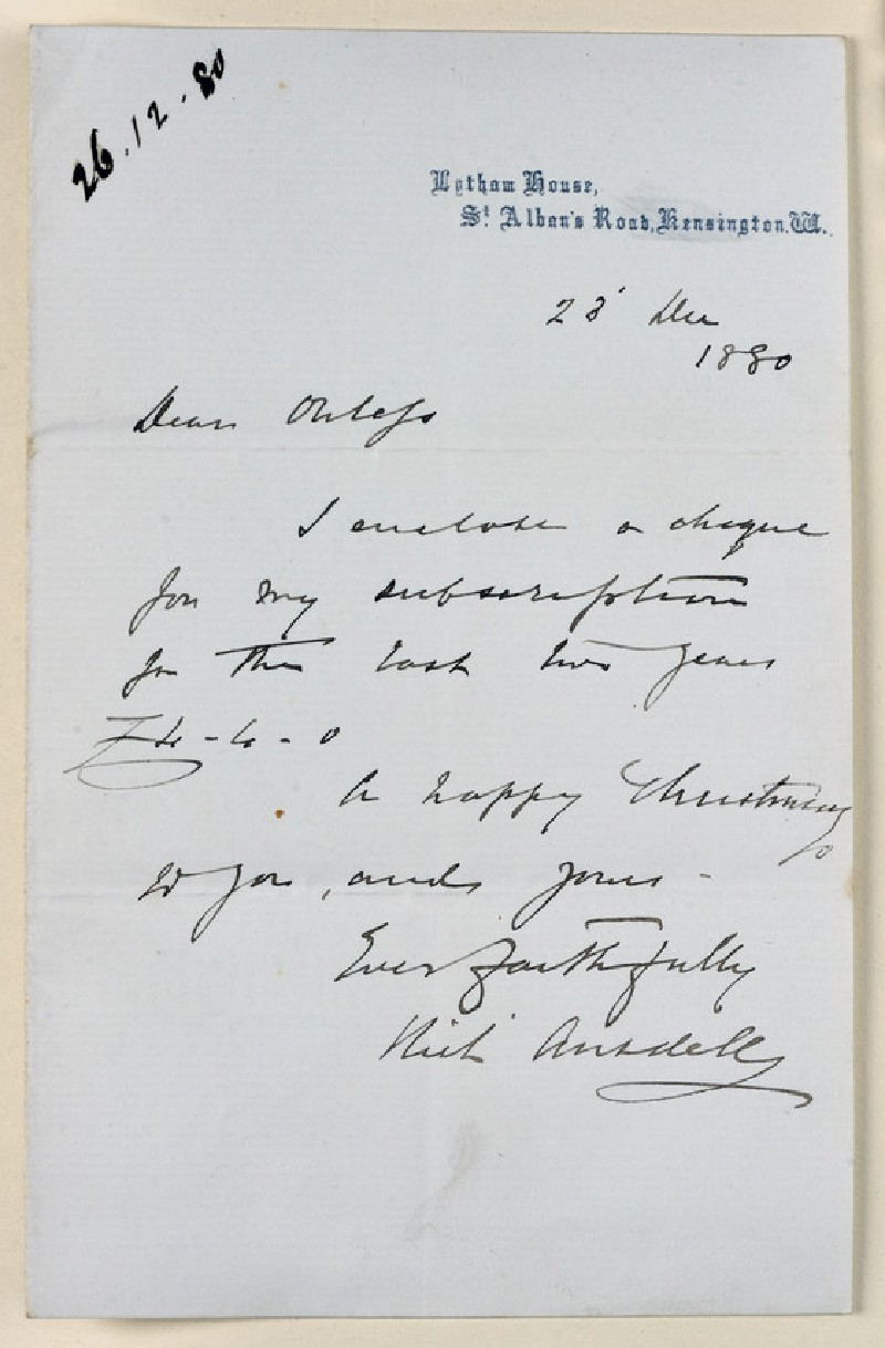 Letter from Richard Ansdell, Lytham House, South Kensington, to Walter William Ouless (WA1967.42.29)