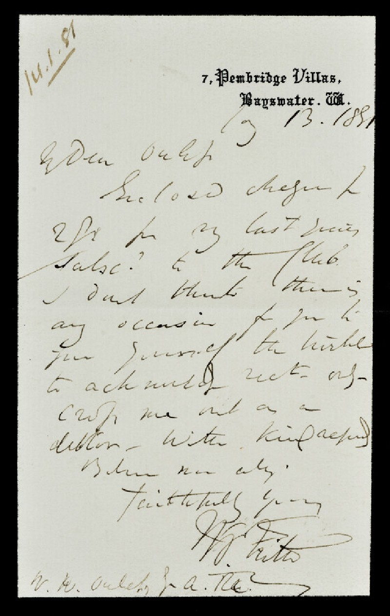 Letter from William Powell Frith, 7 Pembridge Villas, Bayswater, to Walter William Ouless (WA1967.42.30)