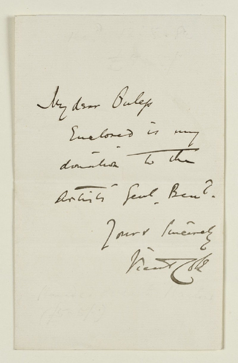 Note from Vicat Cole to Walter William Ouless, undated