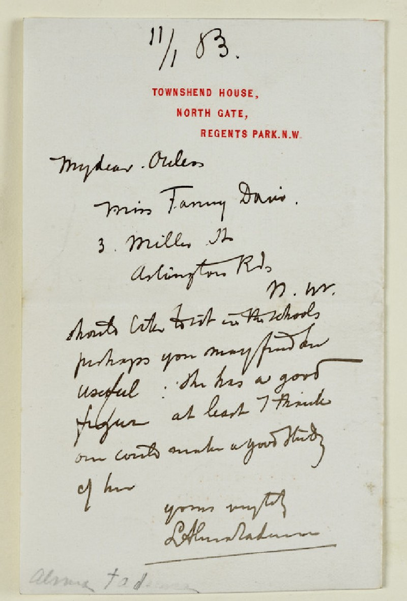 Letter from Lawrence Alma Tadema, Townshend House, Regent's Park, to Walter William Ouless