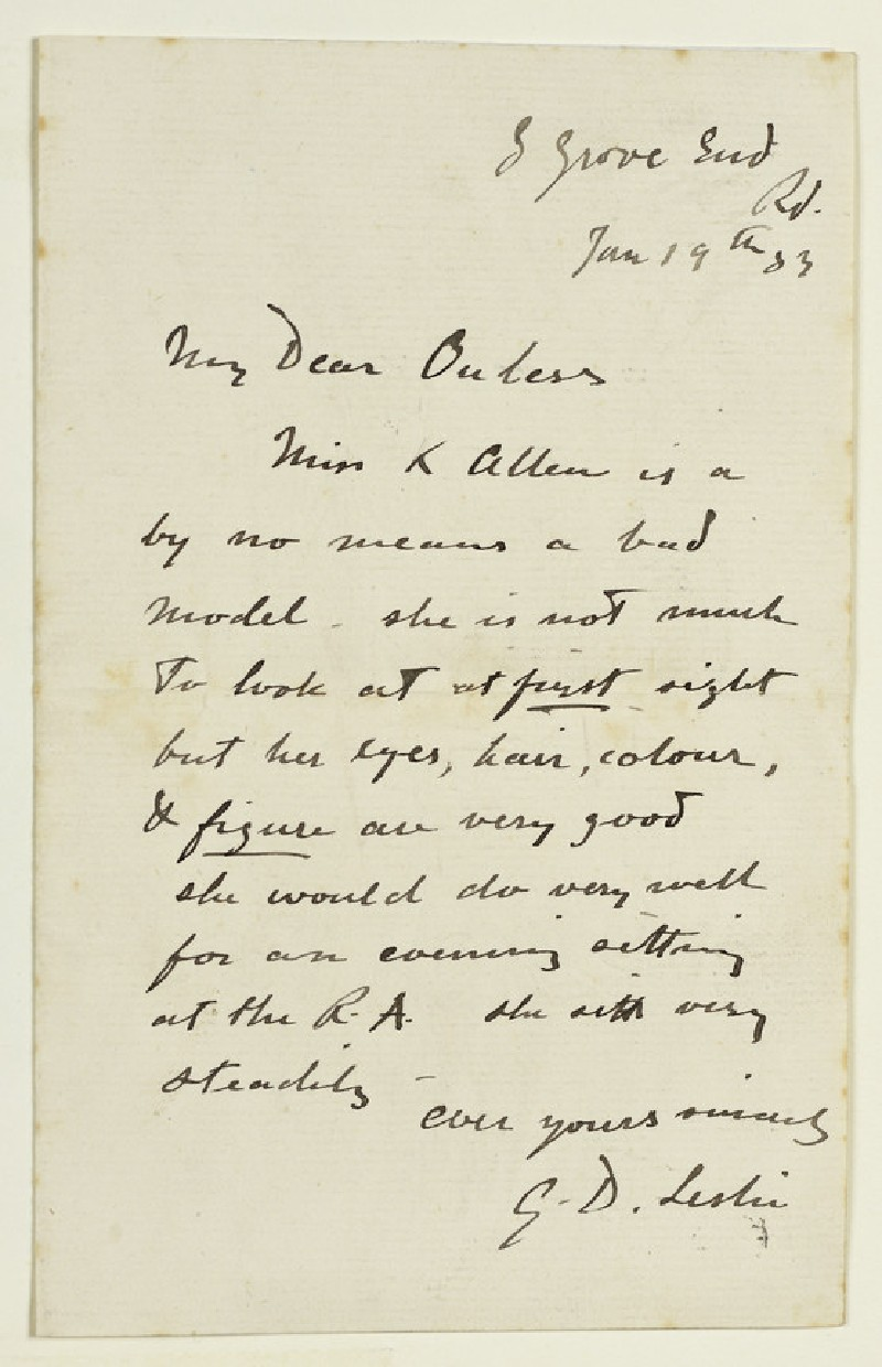 Letter from George Dunlop Leslie, 8 Grove End Road, London, to Walter William Ouless