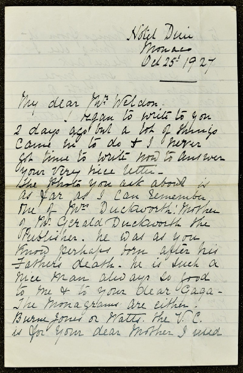 Letter from Lizzie Potton to Sir Weldon Dalrymple-Champneys, 25 October 1927 (WA1967.42.39)