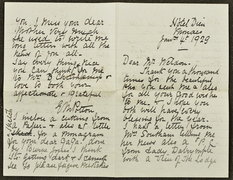 Letter from Lizzie Potton to Sir Weldon Dalrymple-Champneys, 4 January 1979 (WA1967.42.40)