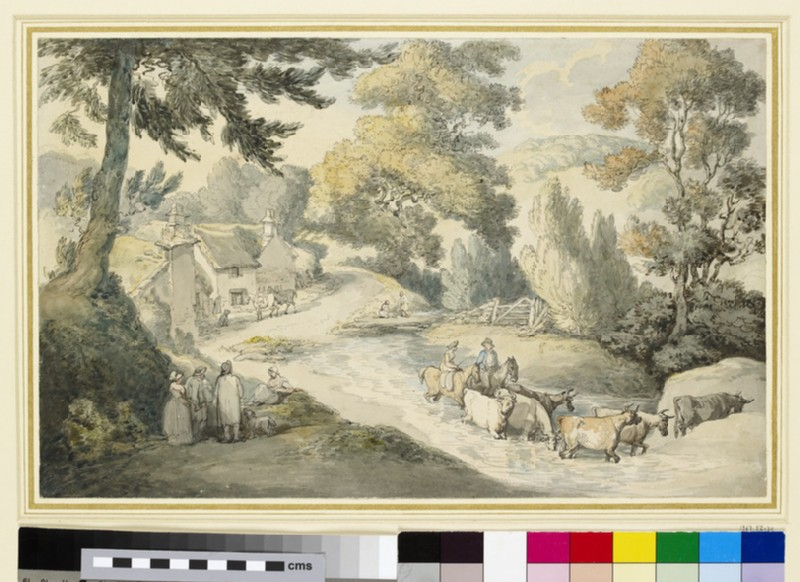 Landscape with Cattle fording a Stream