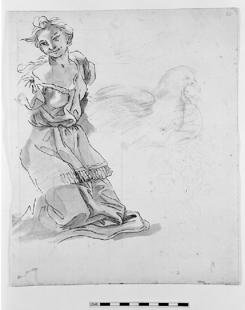 Recto: Young Woman kneeling<br />Verso: Segment of an oval Frame surmounted by a crowned Eagle