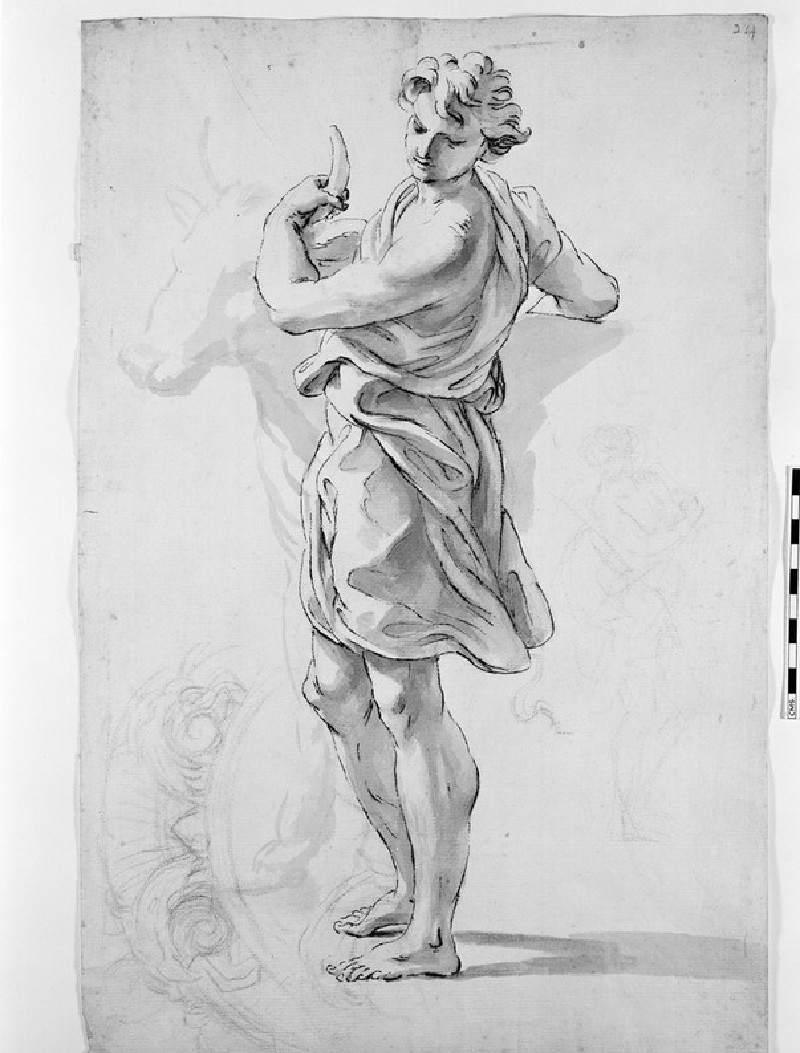 Recto: Young man with an Ox<br />Verso: Summary Sketch of a bearded Man kneeling
