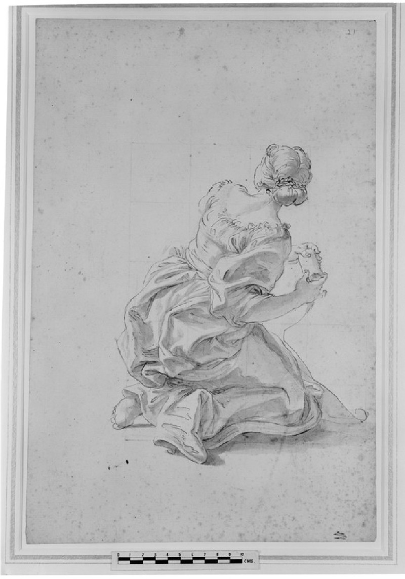 Kneeling Woman holding a scroll<br />Verso: A faint nude study for the figure on the recto
