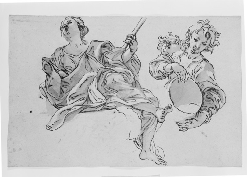 Recto: Studies of a seated female Figure and of a Child with a Vessel<br />Verso: Two flying Putti with Bunches of Flowers