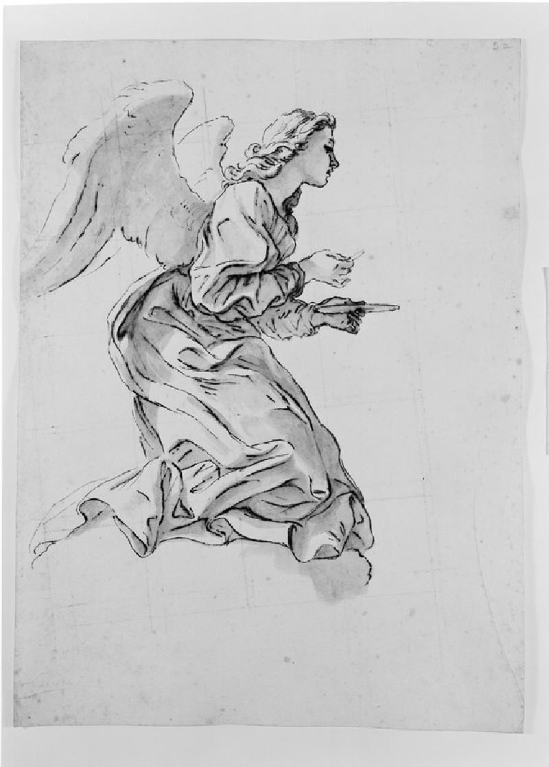 Recto: An Angel administering the Sacrament<br />Verso: Slight Drapery Study