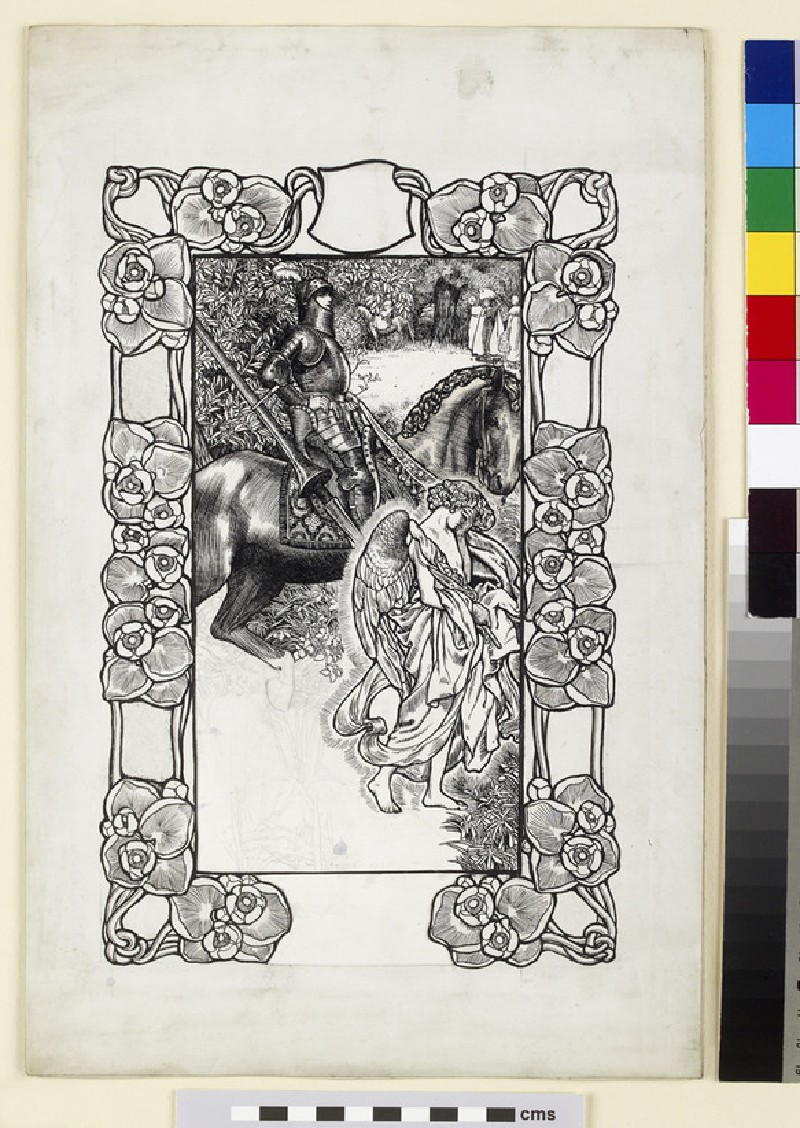A Knight with the Angel of Death mounted within a border of entwined yellow water-lilies