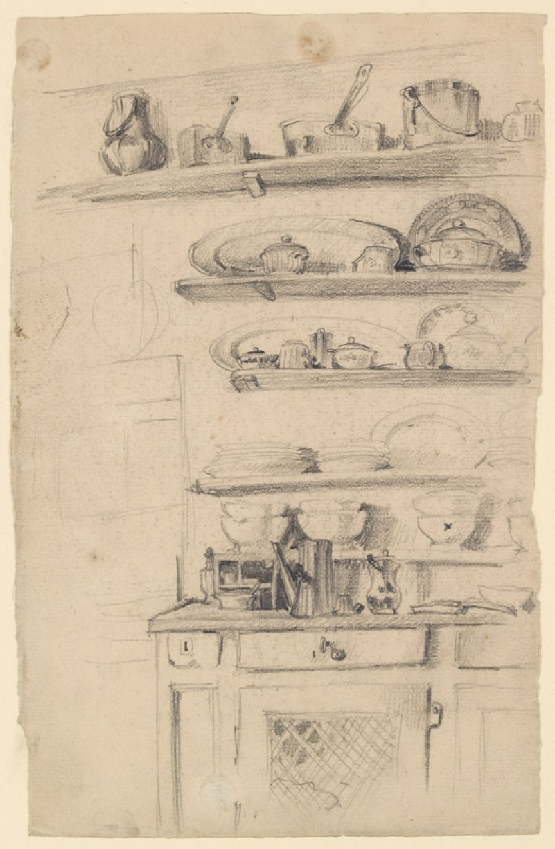 A corner of a kitchen press with shelves above (WA1974.103, front            )