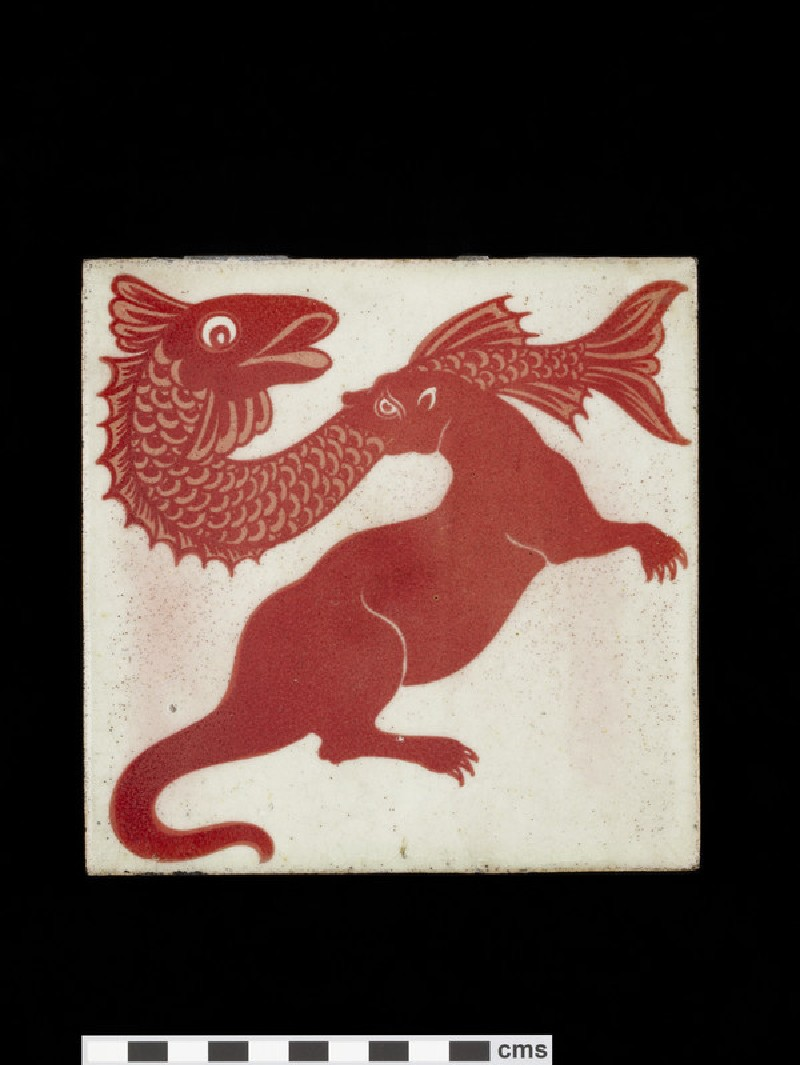 Tile with otter running to the right with large fish in his mouth