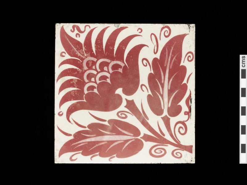 Tile with peony style flower and two leaves (WA1974.273.7)