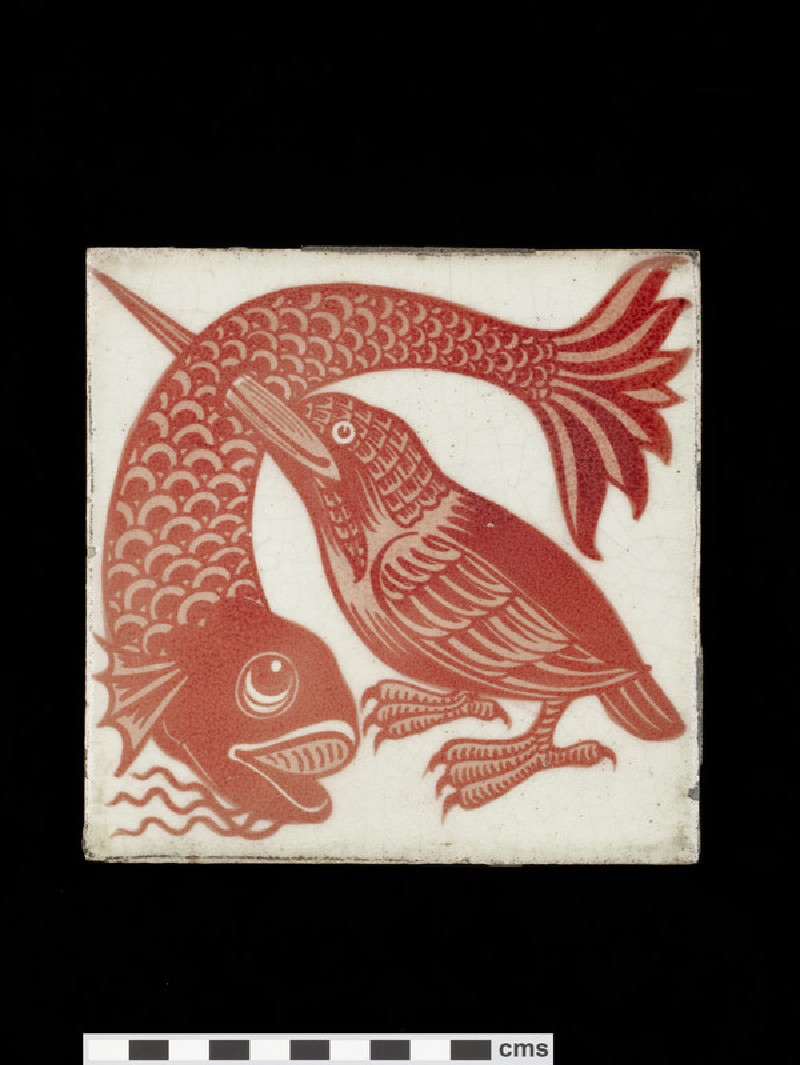 Tile with kingfisher with its beak thrust through a large fish (WA1974.273.9)