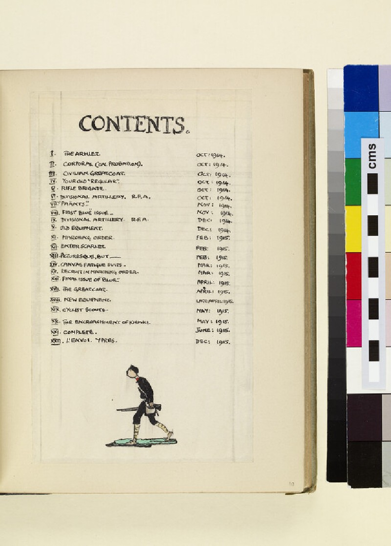 The Costumes and Uniforms of the British Army, 1914-1915: Contents Page (WA1975.101.10)