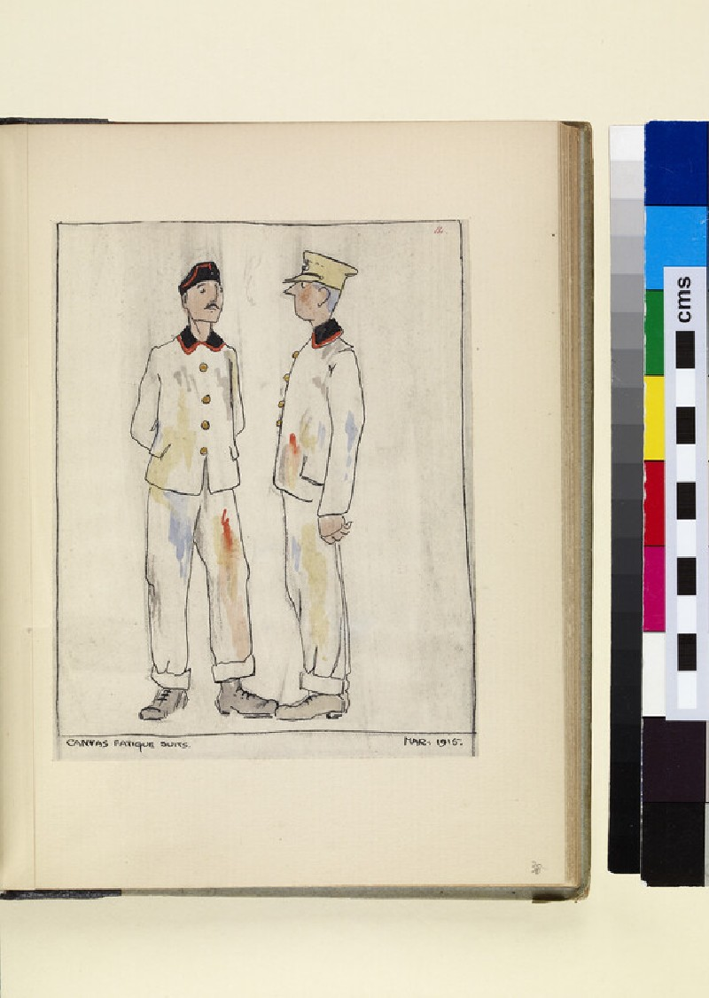 The Costumes and Uniforms of the British Army, 1914-1915: Canvas Fatigue Suits, March 1915 (WA1975.101.38)