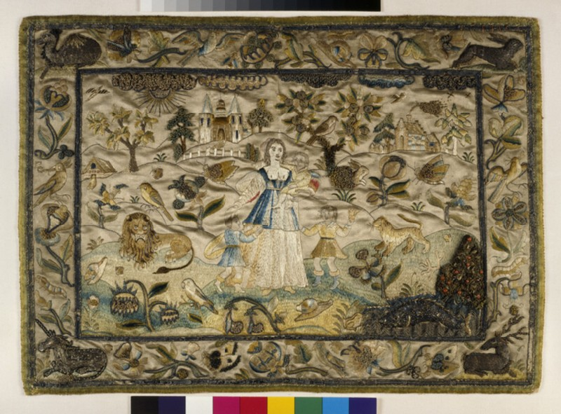 Textile panel with Charity Standing in a Landscape
