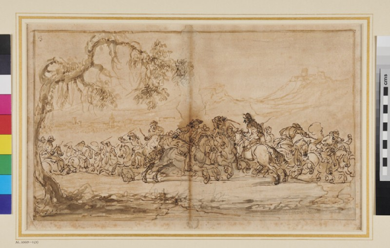 Cavalry Battle framed by an overhanging Tree, left