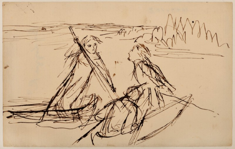 Two men in a boat and a woman punting (WA1977.103)