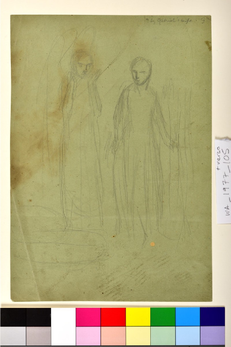 Recto: Study for 'The Annunciation'<br />Verso: Sheet of Studies (WA1977.105)