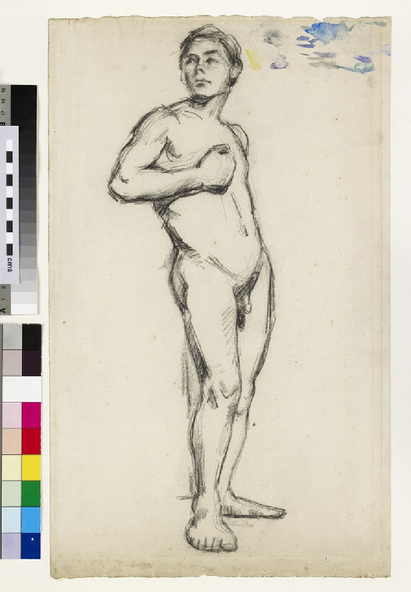 Academic study of a male nude with his right hand clenched across his chest (WA1977.24)