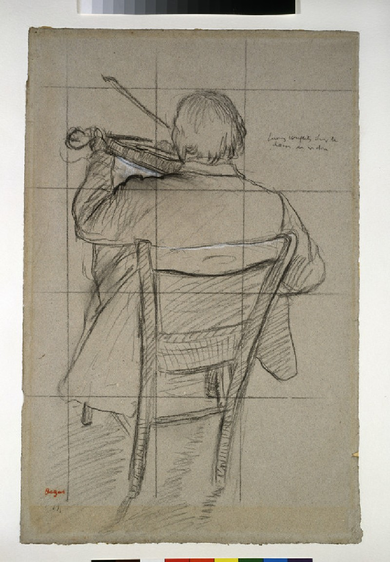 A seated violinist seen from behind
