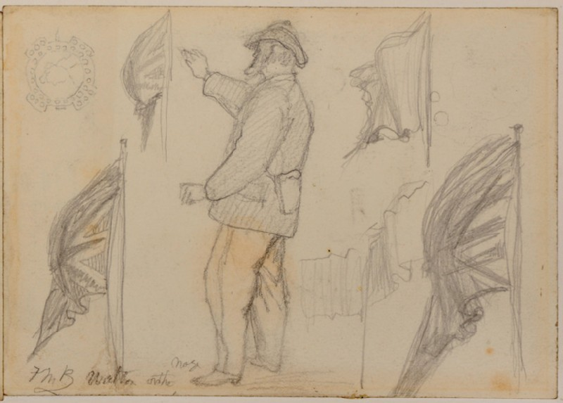 Recto: studies of a standing man and Union flag for 'Walton-on-the-Naze' <br />Verso: designs for a monogram