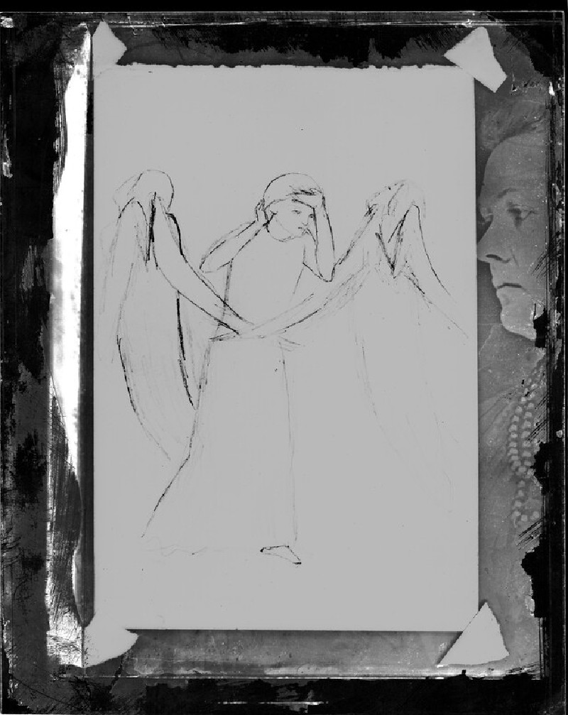 Glass plate negative of 'Two Angels with a Figure'