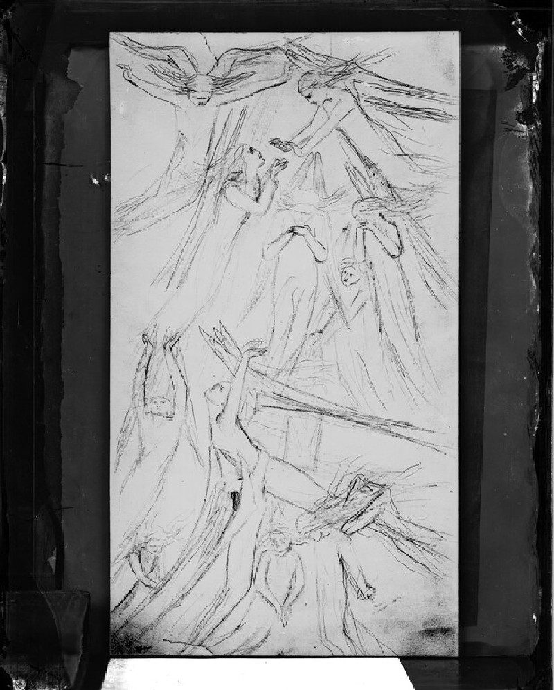 Glass plate negative of 'Flying Angels'