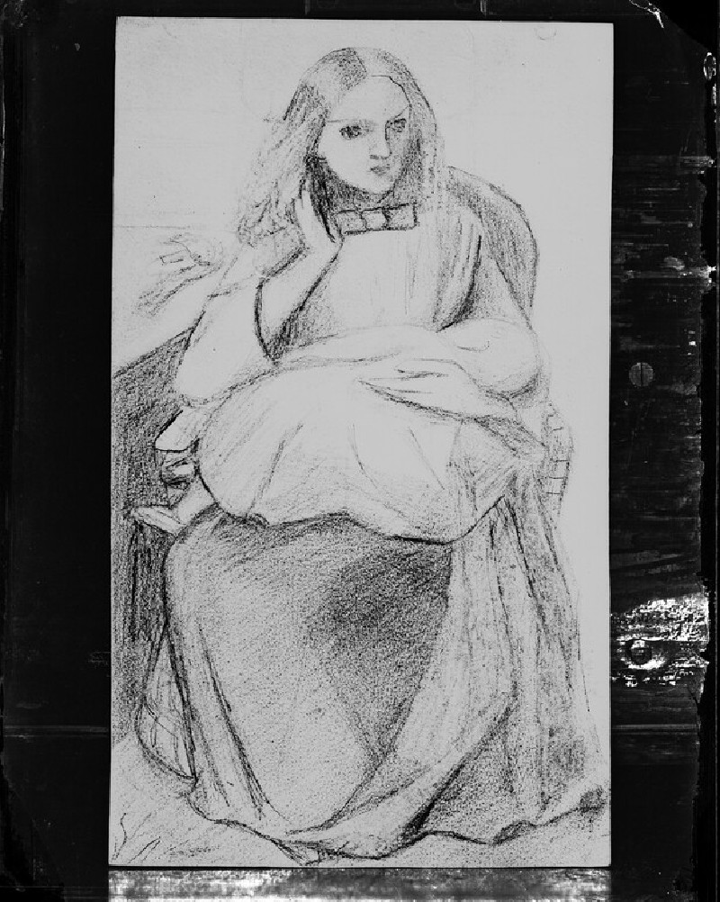 Glass plate negative of 'Figure Study of Seated Woman with Child'