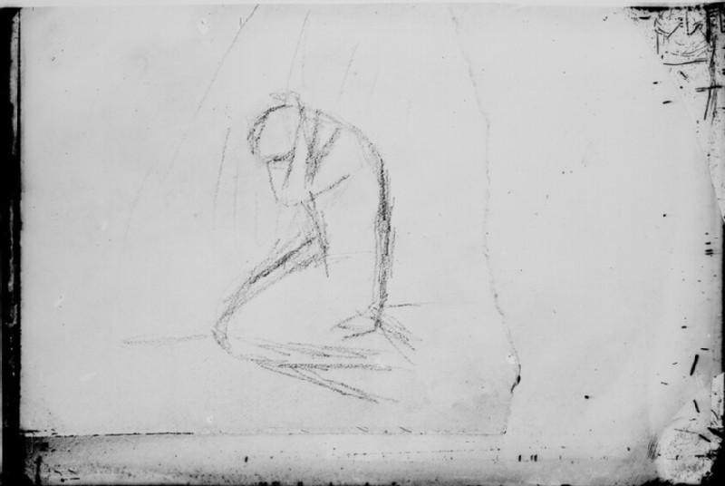 Glass plate negative of 'Kneeling Woman'