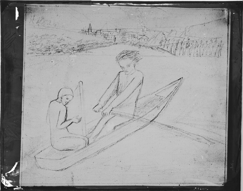 Glass plate negative of 'The Rowing Boat' (WA1977.353.8)