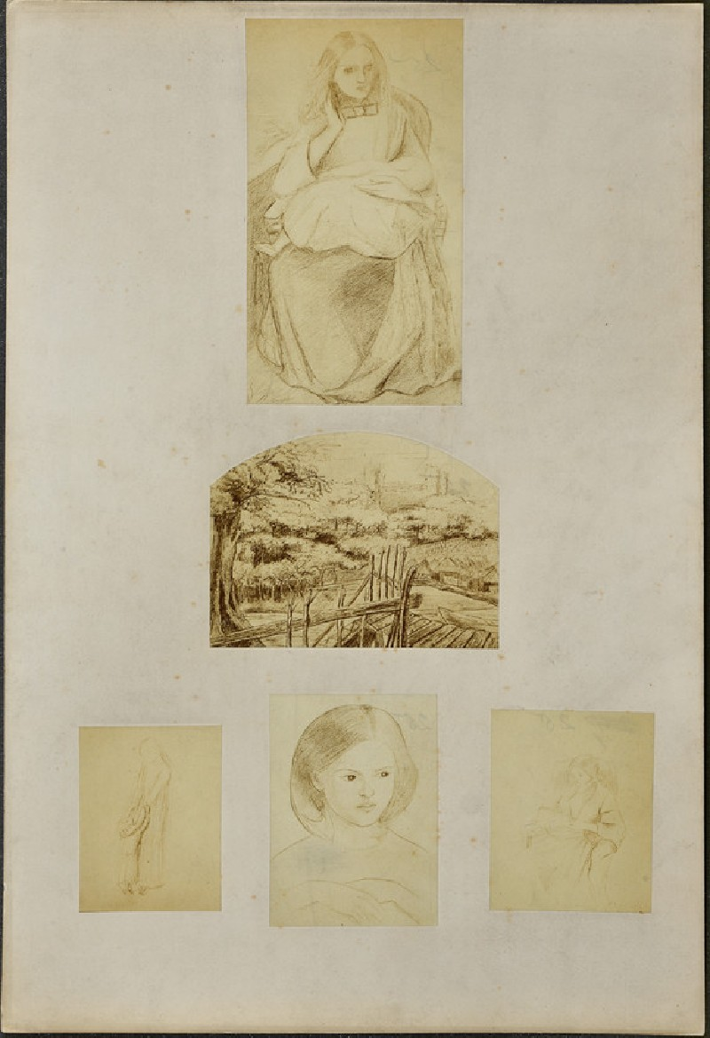 Sheet of figure studies and a landscape