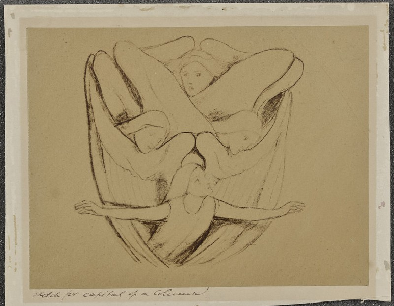 Sketch for capital of a column (WA1977.355.32)