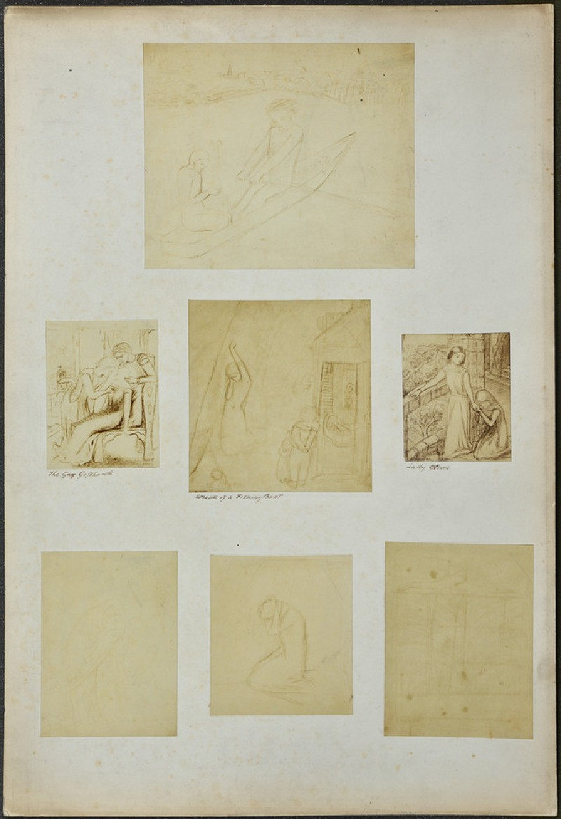 Studies for 'The Gay Goshawk', 'Wreck of a Sailing Boat', ' Lady Clare', and other sketches