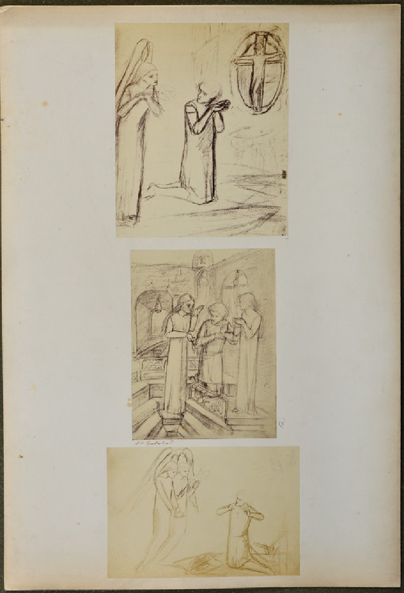 Three studies for 'Sir Galahad' (WA1977.355.7)