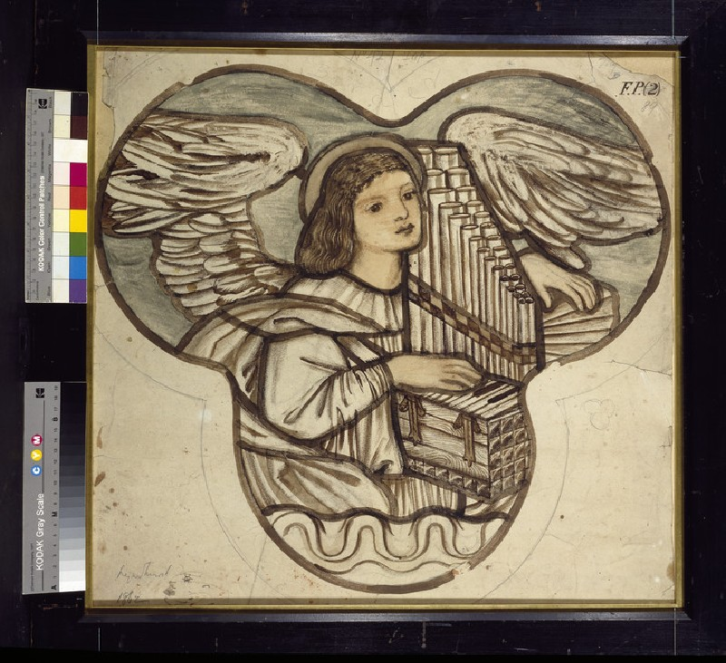 Design for stained glass in Lyndhurst Church: an Angel Organist