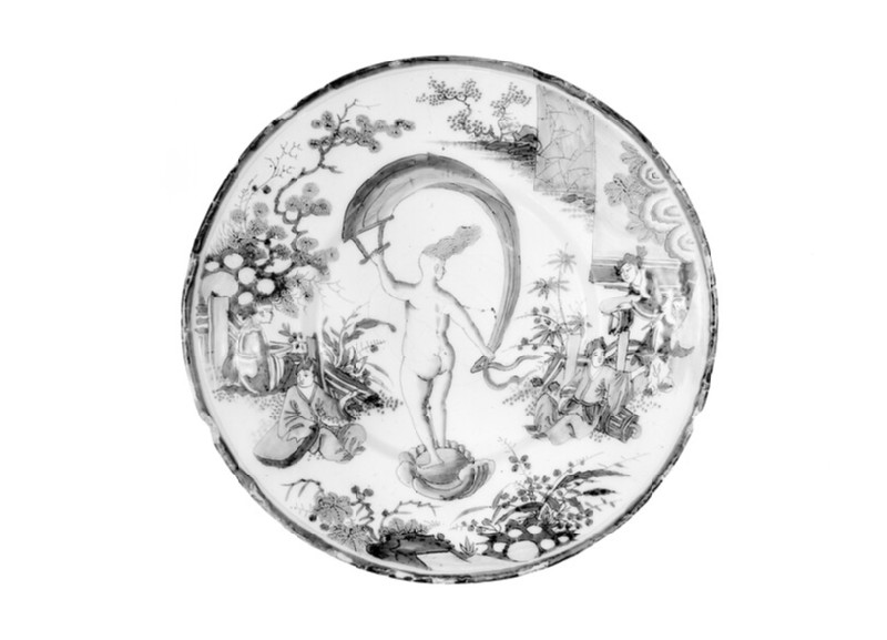 Plate with allegory of Occasion as nude lady on shell with banner within Chinese style landscape with figures (WA1978.187)