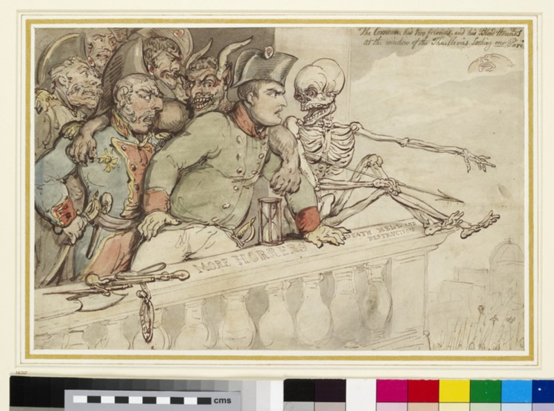 Recto: The Corsican, his two friends and his blood hounds at the Window of the Thuilleries (Tuileries) looking over Paris<br />Verso: The same Composition traced through