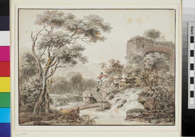 River Landscape with a Man crossing a Bridge (WA1982.277, recto)