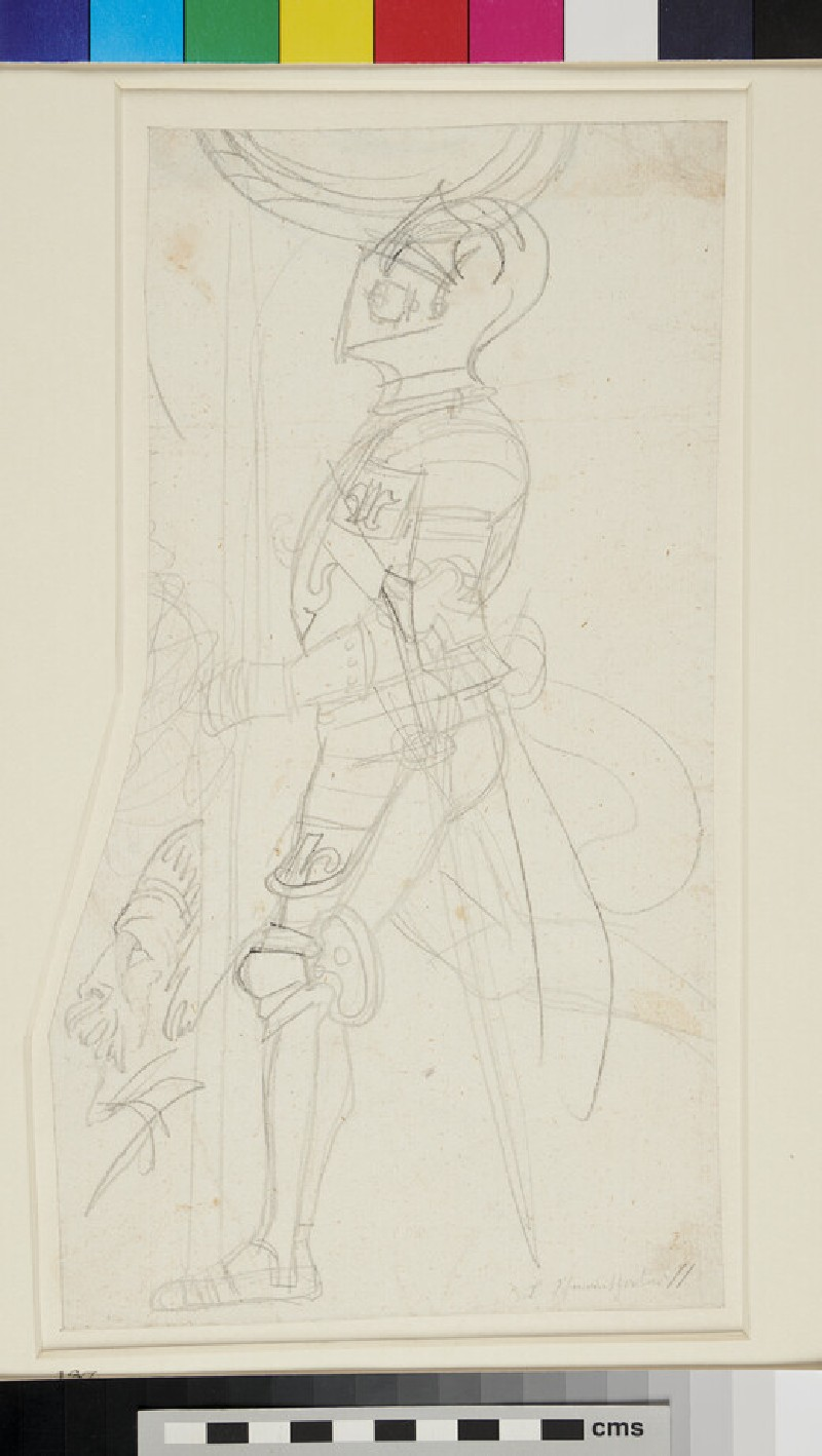 Recto: Studies of a Knight in Armour<br />Verso: Slight Sketch