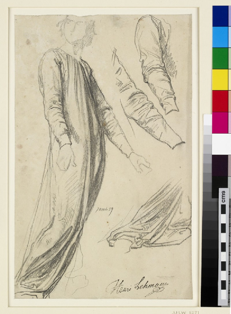 A costume study with two separate studies of the sleeves and one of the lower drapery