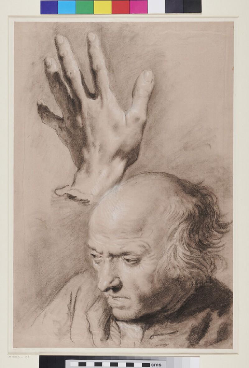 Man's Head and a Hand (WA1985.37, recto)