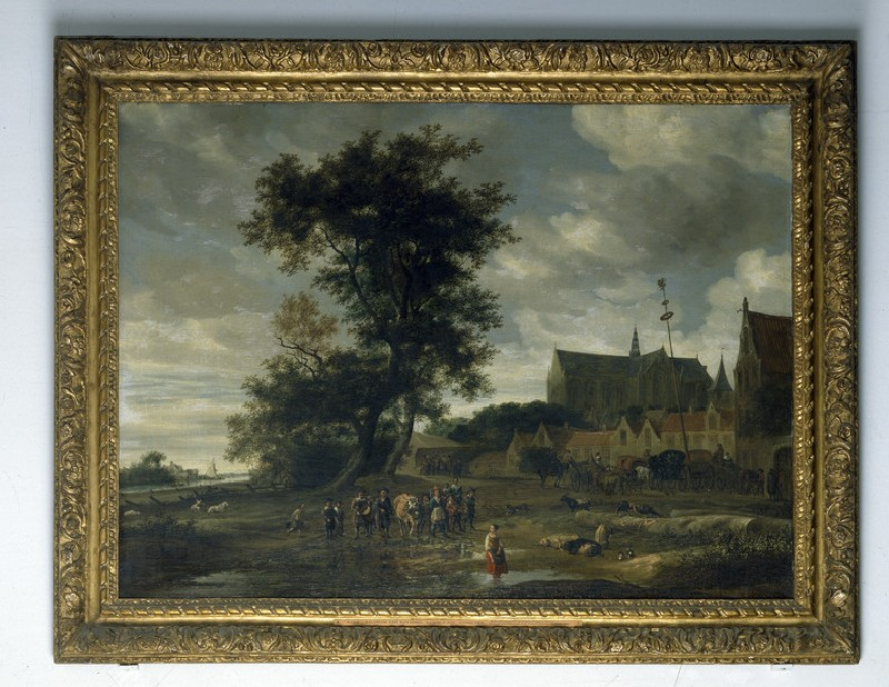 Scene before a Maypole with Alkmaar Church in the Background